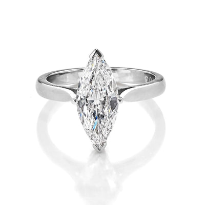 Marquise-Shaped Brilliant-Cut Diamond Single Stone Engagement Ring-Hamilton & Inches