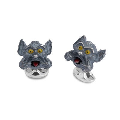 Sterling Silver Gargoyle Cufflinks-Hamilton & Inches