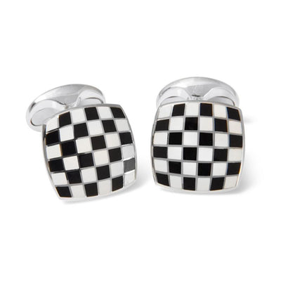Sterling Silver Checkerboard Enamelled Cufflinks - Hamilton & Inches
