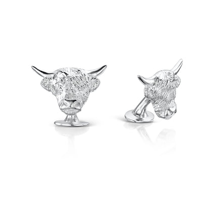 Hamilton & Inches Highland Cow Cufflinks in Britannia Silver - Hamilton & Inches