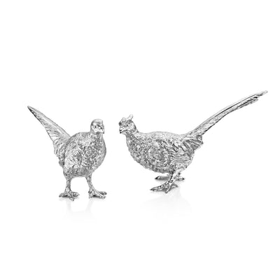 A Pair of Pheasants in Sterling Silver-Hamilton & Inches