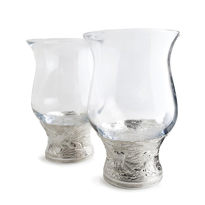 Britannia Silver and Crystal 'Winter Stag' Storm Lamps - Hamilton & Inches
