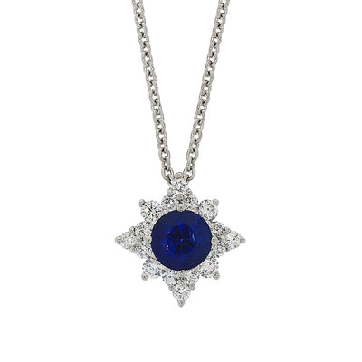 Sapphire and Diamond Starburst Pendant in 18ct White Gold-Hamilton & Inches