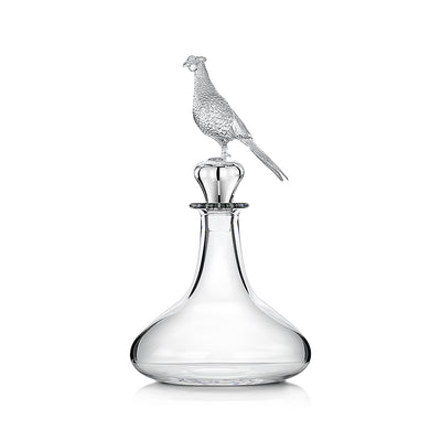 Hamilton & Inches Captains Decanter with Pheasant Stopper in Britannia Silver - Hamilton & Inches