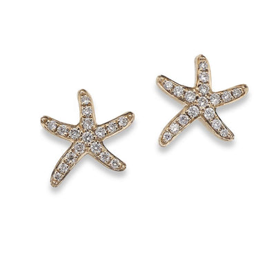 Diamond Starfish Stud Earrings in 18ct Rose Gold - Hamilton & Inches