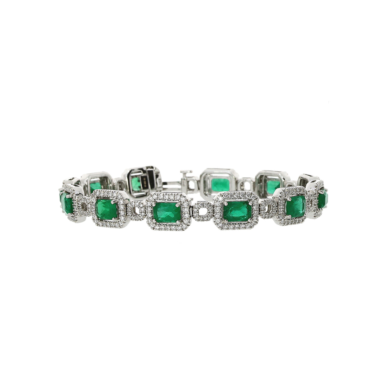 Emerald and Diamond Cluster Line Bracelet in 18ct White Gold-Hamilton & Inches