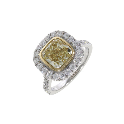 Fancy Yellow Diamond Cluster Ring in Platinum and 18ct Yellow Gold-Hamilton & Inches