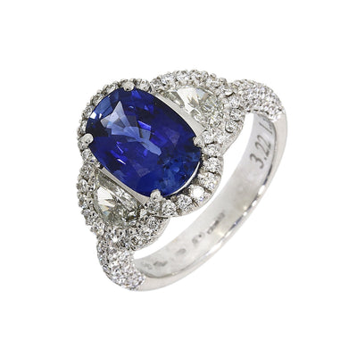 Fancy Sapphire and Diamond Cluster Ring in 18ct White Gold-Hamilton & Inches