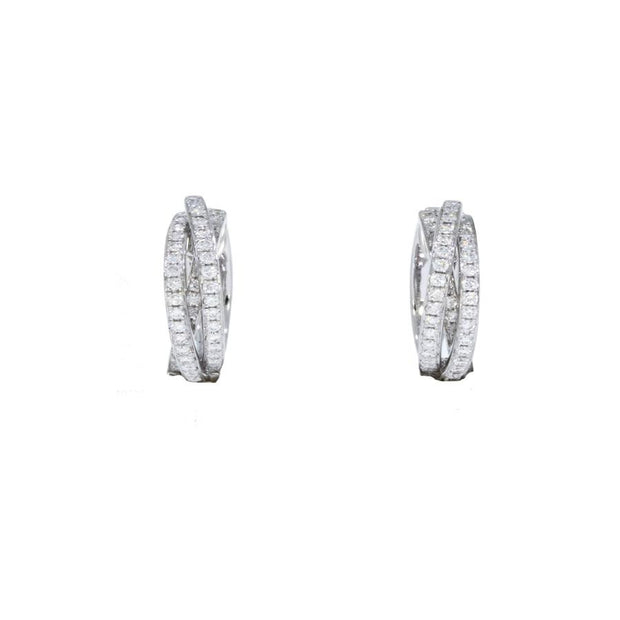 Diamond Russian Wedding Hoop Earrings in White Gold - Hamilton & Inches