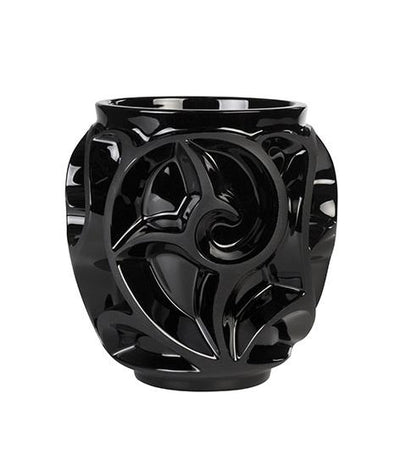 Lalique Tourbillons Small Black Vase-Hamilton & Inches