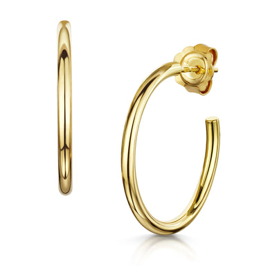 Hamilton & Inches 2mm Hoops in 18ct Yellow Gold-Hamilton & Inches