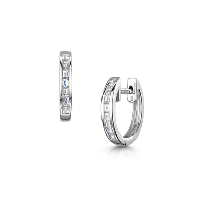 Diamond Hoop Earrings in 18ct White Gold-Hamilton & Inches