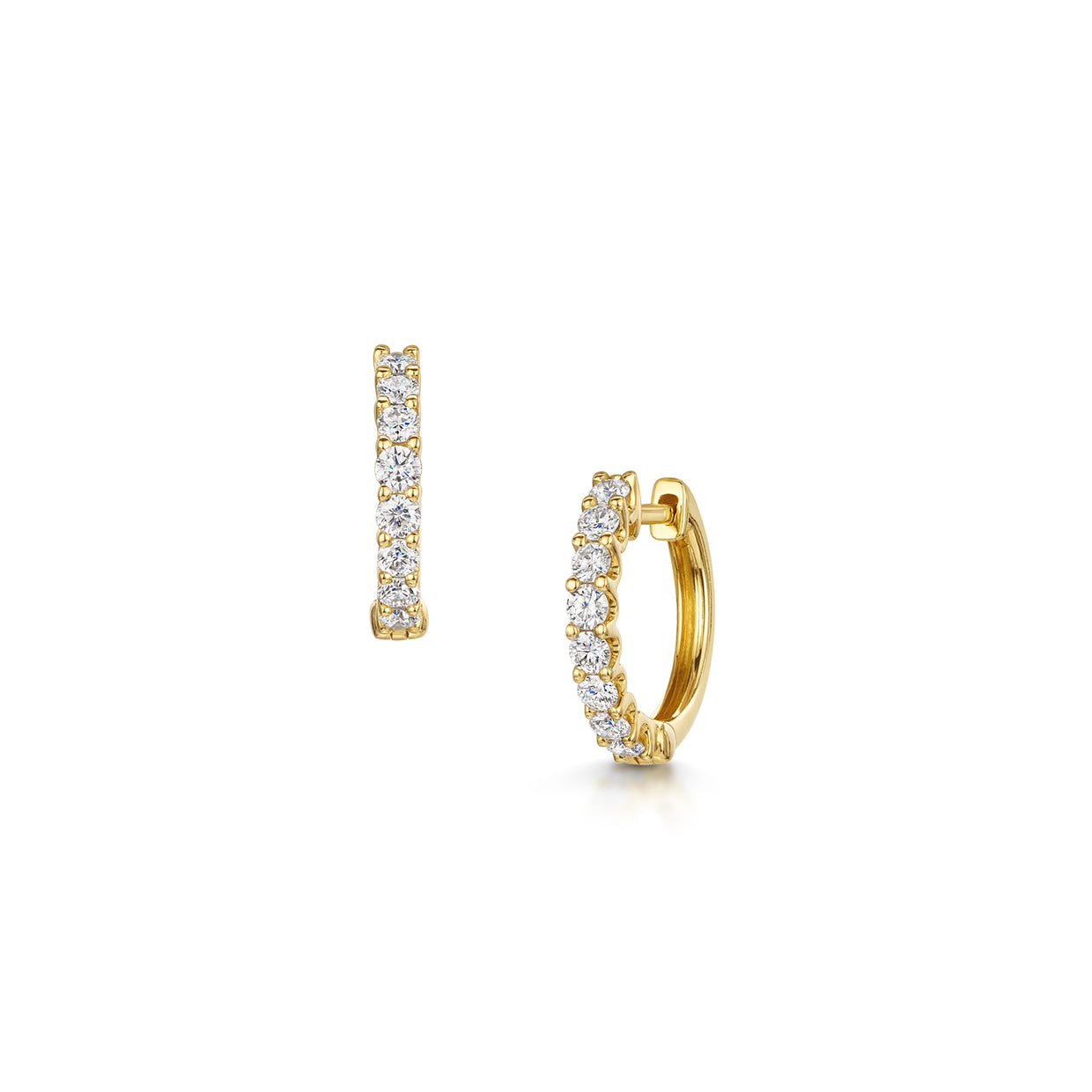 Diamond Set Hoop Earrings in 18ct Yellow Gold-Hamilton & Inches