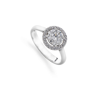Cluster Diamond Halo Engagement Ring in Platinum-Hamilton & Inches