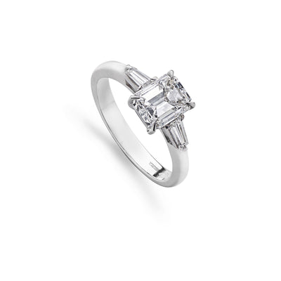 Emerald-Cut & Tapered Baguette-Cut 3-Stone Engagement Ring-Hamilton & Inches