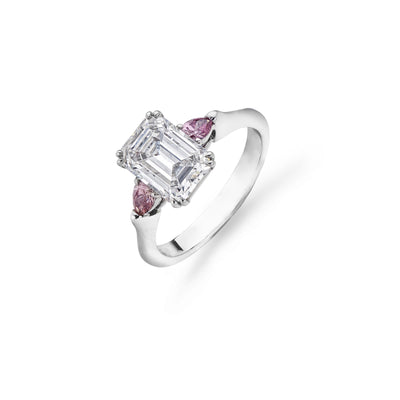 Emerald-Cut and Pink Purple Three-Stone Engagement Ring-Hamilton & Inches