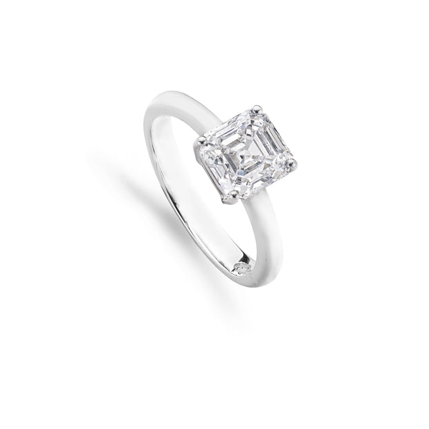 Emerald-Cut Solitaire Diamond Engagement Ring in Platinum
