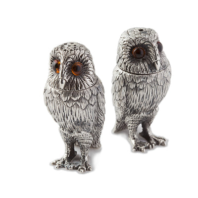 Sterling Silver Owl Salt & Pepper Shakers - Hamilton & Inches