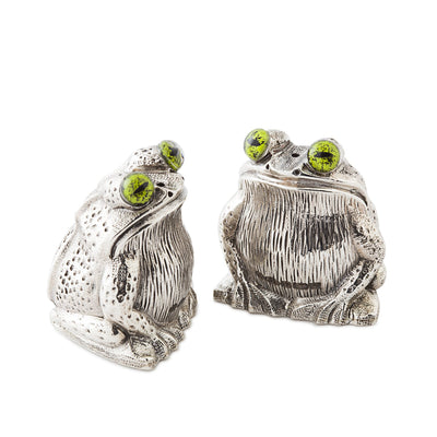 Sterling Silver Frog Salt & Pepper Shakers-Hamilton & Inches