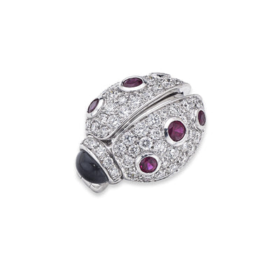 Ladybird Brooch in White Gold with Ruby and White Diamonds - Hamilton & Inches