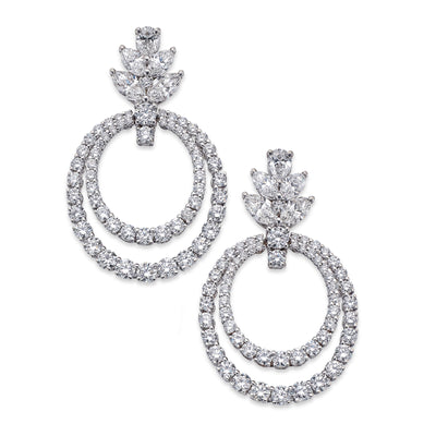 Double Drop Diamond Earrings in White Gold-Hamilton & Inches