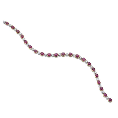 Oval-Cut Ruby and Brilliant-Cut Diamond Line Bracelet in White and Yellow Gold-Hamilton & Inches