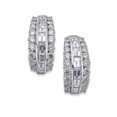 Brilliant-Cut and Baguette-Cut Diamond Earrings in White Gold-Hamilton & Inches