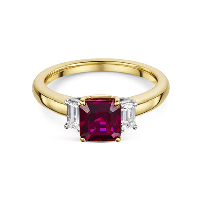 Ruby and Diamond 3-Stone Ring in 18ct Yellow Gold-Hamilton & Inches