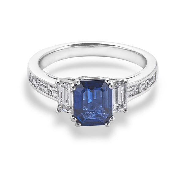 3-Stone Sapphire & Baguette-Cut Diamond Engagement Ring in White Gold-Hamilton & Inches