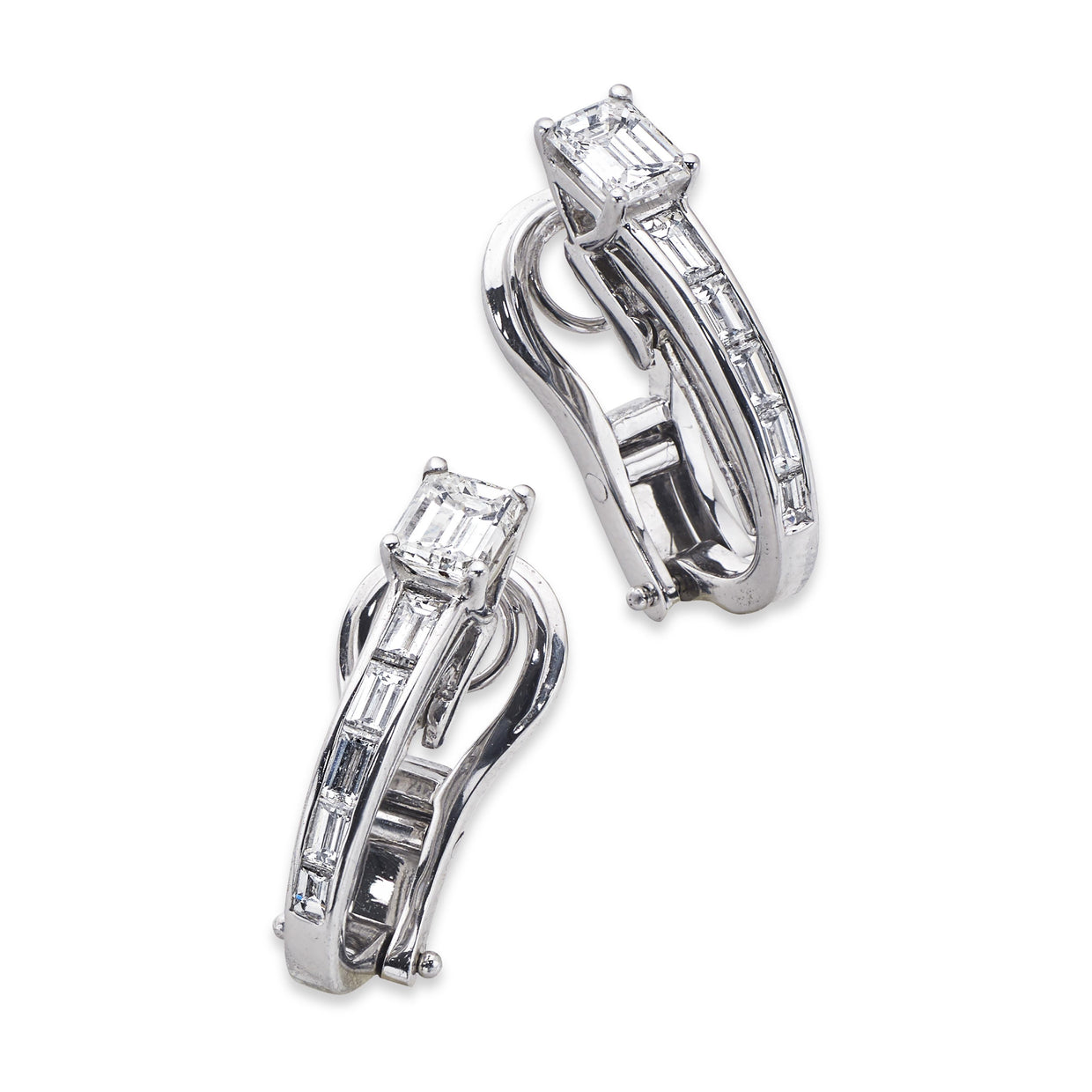 Graduated Diamond Drop Earrings in White Gold-Hamilton & Inches