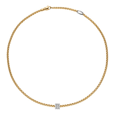 FOPE Flex'it Necklet with Diamond Set Pave Rondel in 18ct Yellow Gold-Hamilton & Inches