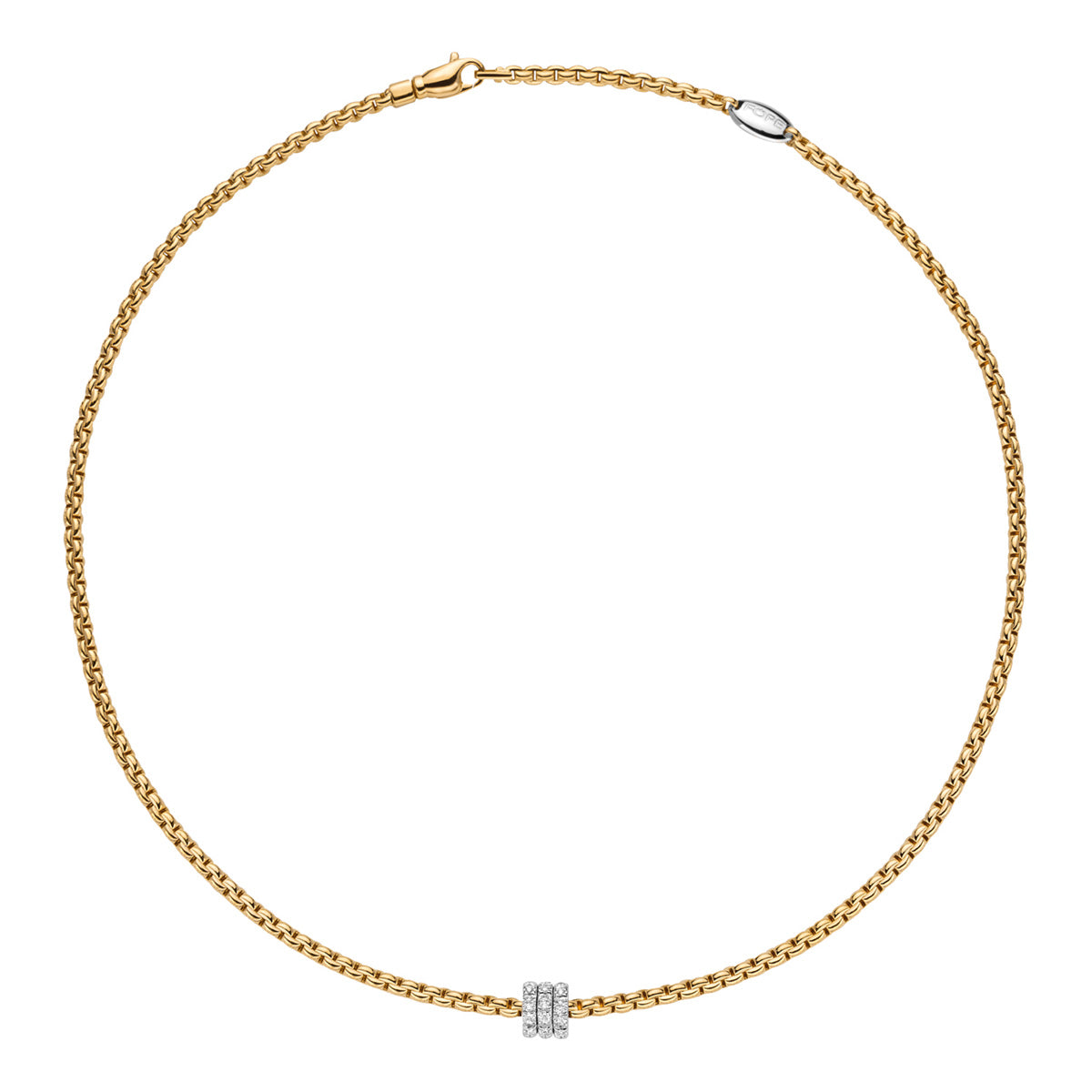 FOPE Flex'it Necklet with Diamond Set Pave Rondel in 18ct Yellow Gold - Hamilton & Inches