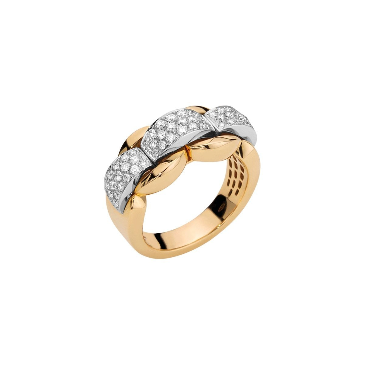 FOPE Novita Ring in 18ct Yellow Gold With Pave Diamond Strip - Hamilton & Inches