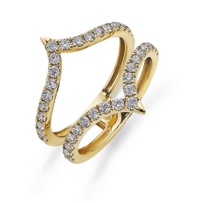 'V' Shaped Diamond Ring in Yellow Gold-Hamilton & Inches