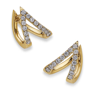 'V' Diamond Earrings in Yellow Gold-Hamilton & Inches
