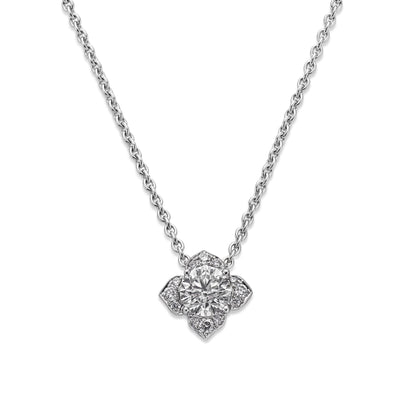 Round Brilliant-Cut Diamond Pendant in 18ct White Gold - Hamilton & Inches