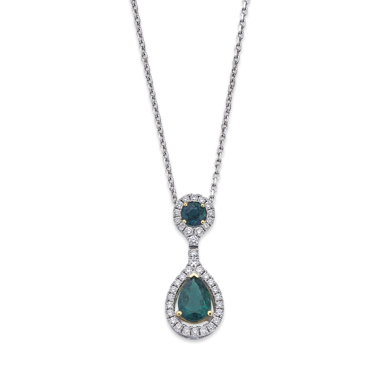 Emerald and Diamond Cluster Pendant in White & Yellow Gold-Hamilton & Inches