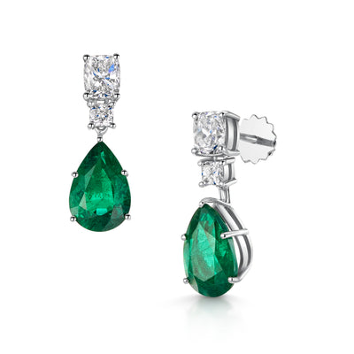 Pear-Cut Emerald and Diamond Drop Earrings in Platinum-Hamilton & Inches