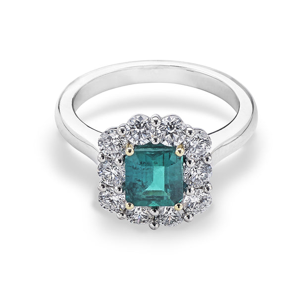Emerald and Diamond Cluster Engagement Ring in Platinum - Hamilton & Inches