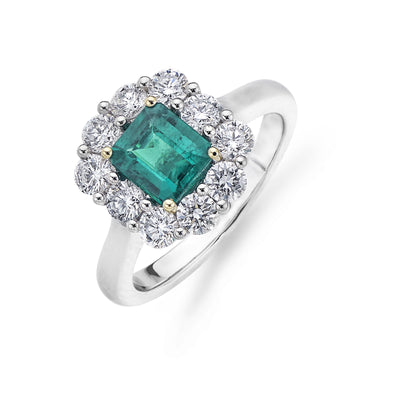 Emerald and Diamond Cluster Engagement Ring in Platinum-Hamilton & Inches
