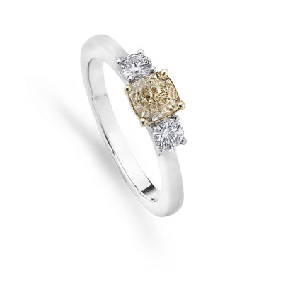 Brilliant-Cut 3-Stone Yellow Diamond Engagement Ring in Platinum-Hamilton & Inches