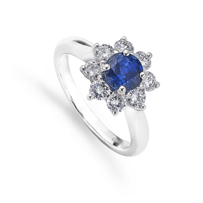 Brilliant-Cut Sapphire & Diamond Cluster Engagement Ring in White Gold-Hamilton & Inches