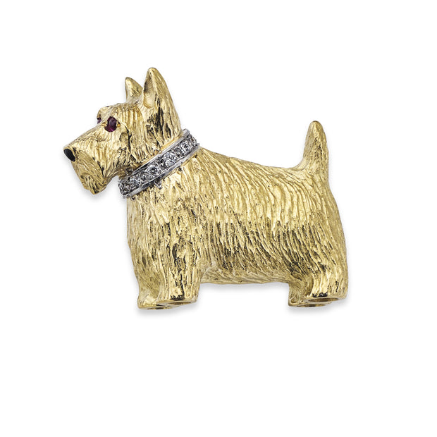Scottie Dog Brooch in Yellow Gold with Diamond Collar