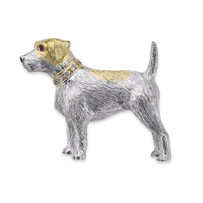 Terrier Brooch in White & Yellow Gold with Diamond Collar - Hamilton & Inches