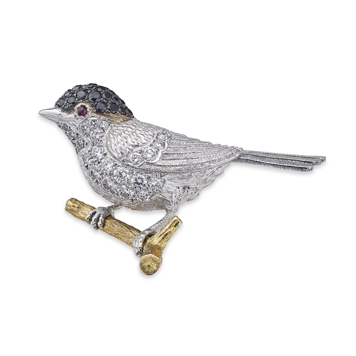 Chickadee Brooch in White Gold with Black and White Diamonds - Hamilton & Inches