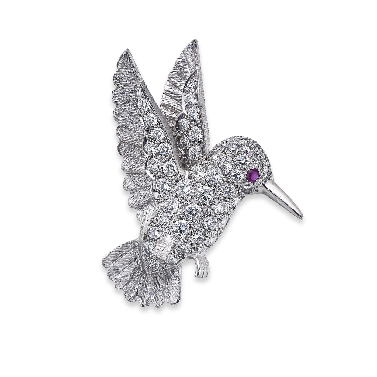 Hummingbird Brooch in White Gold set with Diamonds-Hamilton & Inches