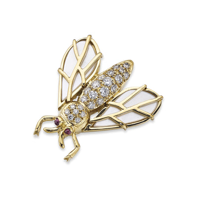 Imperial Bee Brooch in Yellow Gold with Diamonds and Mother of Pearl Wings - Hamilton & Inches
