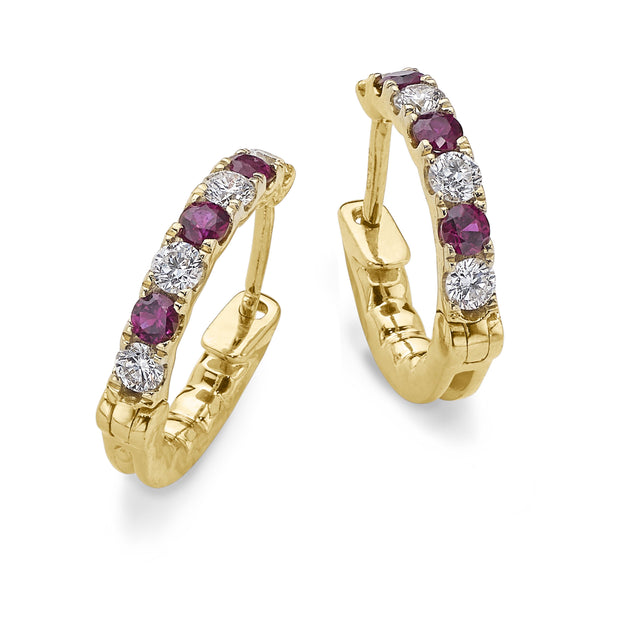 Ruby & Diamond Hoop Earrings in Yellow Gold - Hamilton & Inches