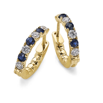Sapphire and Diamond Hoop Earrings in Yellow Gold-Hamilton & Inches