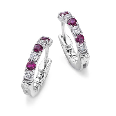 Diamond & Ruby Hoop Earrings in White Gold-Hamilton & Inches